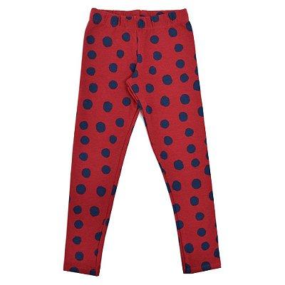 Calça Legging Flanelada - Poá Vermelha - Malwee