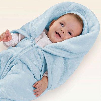 Baby Sac Microfibra com Relevo Pets - Azul - Jolitex