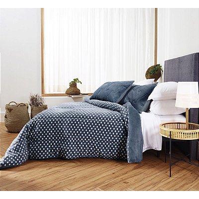 Coberdrom Blend Confort Duo Maxi Poá Solteiro - Azul - Altenburg