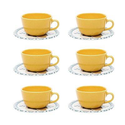 Jogo de Xícaras de Chá Unni Siciliano - 12 peças - Oxford