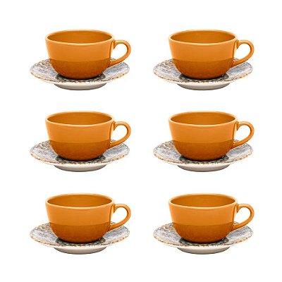 Jogo de Xícaras de Chá Unni Castello - 12 peças - Oxford