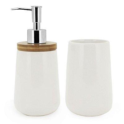 Conjunto Para Banheiro Bambu White - 2 Peças - Mimo Style
