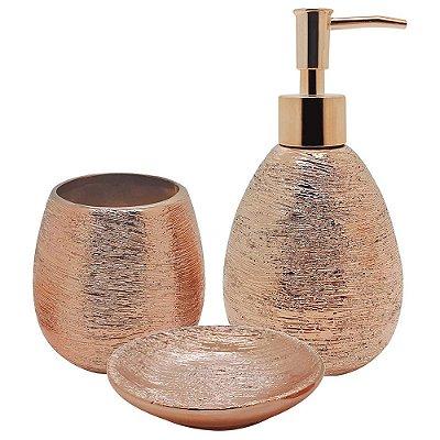 Conjunto Para Banheiro Lunar Bronze - 3 Peças - Mimo Style