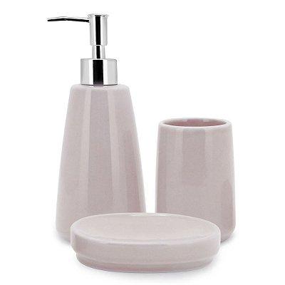 Conjunto Para Banheiro Soft Pink - 3 Peças - Mimo Style