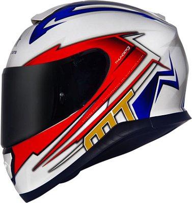 Capacete MT Thunder3 Trex Branco e Azul