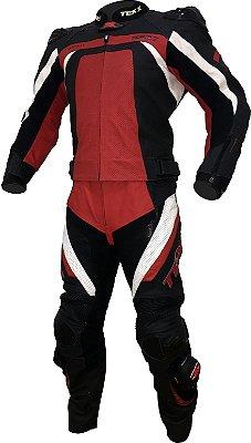 Macacão Couro Moto 2 Peças Texx Spirit Preto Vermelho e Branco
