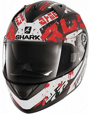Capacete Shark Ridill Kengal KWR Branco e Vermelho Fosco