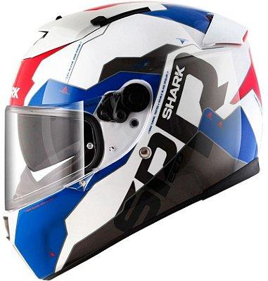 Capacete Shark Speed-R 2 Sauer II WBR Branco Azul e Vermelho