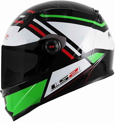 Capacete LS2 FF358 Mohican Branco Verde e Vermelho