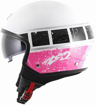 Capacete Feminino LS2 Of561 Wave Rook Branco e Rosa