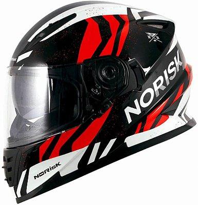 Capacete Norisk FF302 Soul Jungle Preto Branco e Vermelho