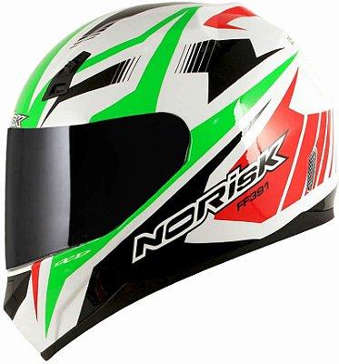 Capacete Norisk FF391 Slide Branco Verde e Vermelho