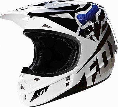 Capacete Fox MX V1 Race 16 Preto e Branco