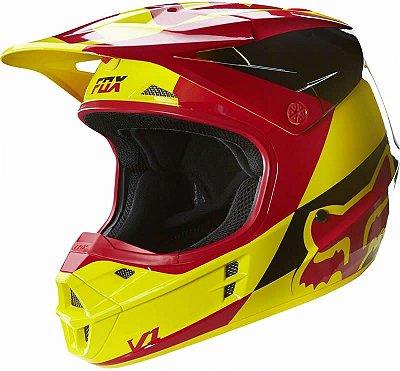 Capacete Fox MX V1 Mako 16 Amarelo e Vermelho