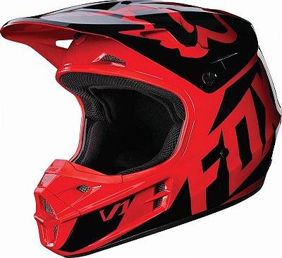 Capacete Fox MX V1 Race 17 Vermelho e Preto