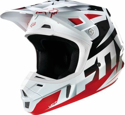 Capacete Fox MX V2 Race Vermelho e Branco
