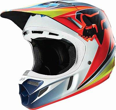 Capacete Fox MX V4 Race Azul e Vermelho