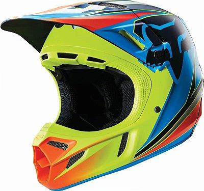Capacete Fox MX V4 Race Azul e Amarelo