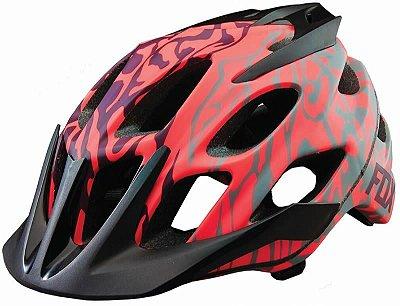 Capacete Fox Bike Flux Cauz Vermelho e Cinza