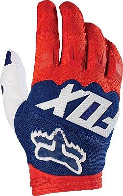 Luva Fox MX Dirtpaw Race Branco Azul e Vermelho