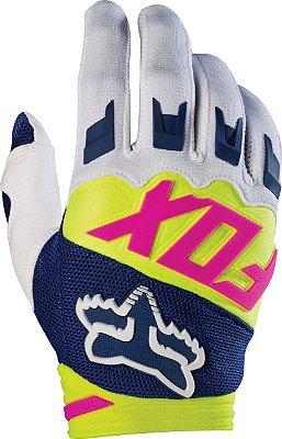 Luva Fox MX Dirtpaw Race Branco Azul e Amarelo