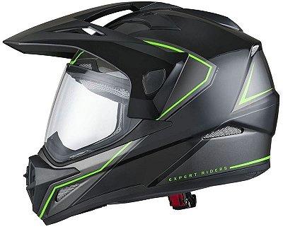Capacete X11 Crossover X2 Preto e Verde