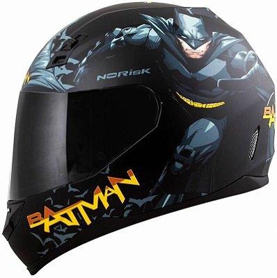 Capacete Feminino Norisk ff391 Batman Hero Preto Fosco