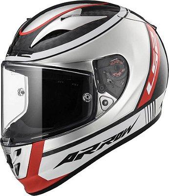 Capacete LS2 ff323 Arrow C Indy Carbon Branco Preto e Vermelho