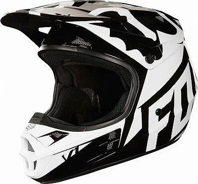 Capacete Fox MX V1 Race 18 Preto e Branco