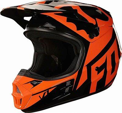 Capacete Fox MX V1 Race 18 Laranja e Preto