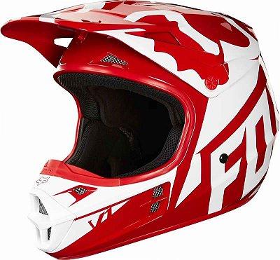 Capacete Fox MX V1 Race 18 Vermelho e Preto