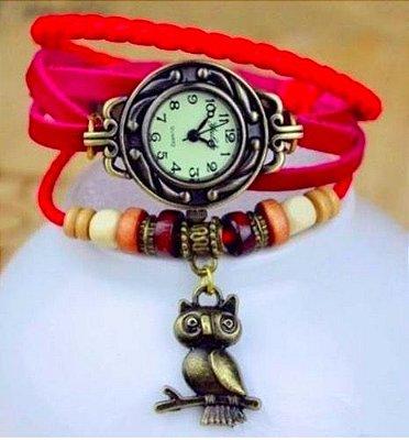 Relógio Vermelho Coruja
