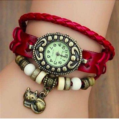 Relógio Vermelho Gatinho