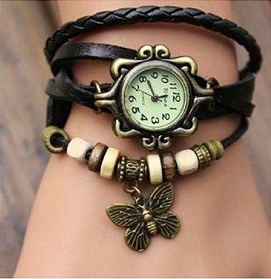 Relógio Preto Borboleta