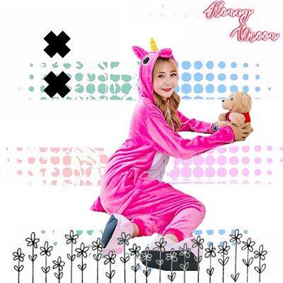 Pijama Macacão Kigurumi Unicórnio Rosa Pink