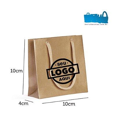 100 Sacolas de Papel Alça Cordão 10x10x4cm