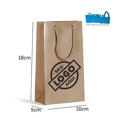 100 Sacolas de Papel Alça Cordão 10x18x5cm