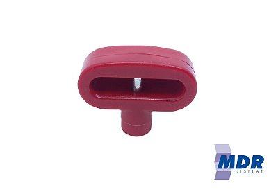 Trava Antifurto Para Gancho Duplo (Expositores) na cor Vermelha / Kit com 10 unidades + 1 Chave Magnética