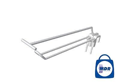 Gancho Duplo para Régua com Porta Preço e Encaixe Plástico / Kit com 50 unidades