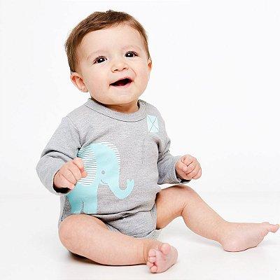 Body Bebê Elefante Pipa Manga Longa