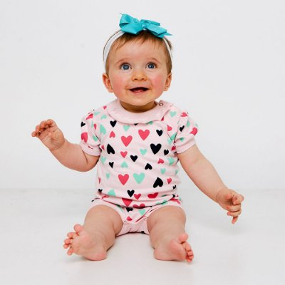 Body Bebê Coração Manga Curta