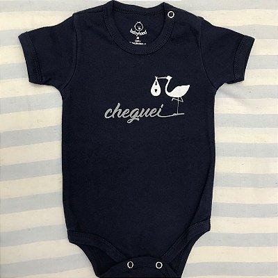 Body de Bebê Cheguei Azul Marinho