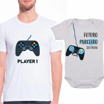 Body de Bebê e Camiseta Adulto Video Game - Pai de Menino