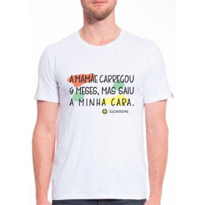 Camiseta Mamãe Careregou 9 Meses Adulto