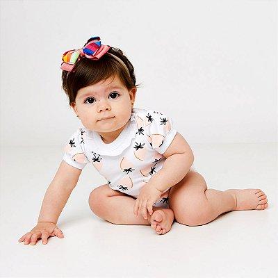 Kit com 3 Bodies de Bebê Meninas - Morangos, Coração e Borboletas