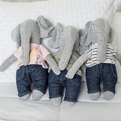 Naninha Elefante + Body de Bebê + Conjunto de Casaco e Calça Jeans