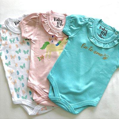 Kit de 3 Bodies Bebê Meninas - Unicórnio, Eu te amo, Borboletas e Calça Rosa