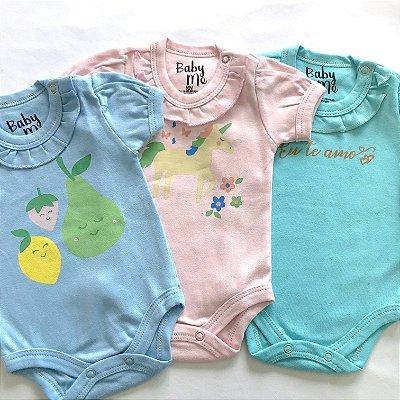 Kit de 3 Bodies Bebê Meninas - Unicórnio, Frutas e Eu te amo e Calça Rosa