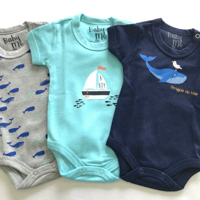 Kit de 3 Bodies Bebê Meninos - Ahoy, Baleias e Amigos e Calça Marinho