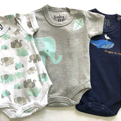 Kit de 3 Bodies Bebê Meninos - Elefantinhos, Pipa e Amigos do Mar e Calça Marinho